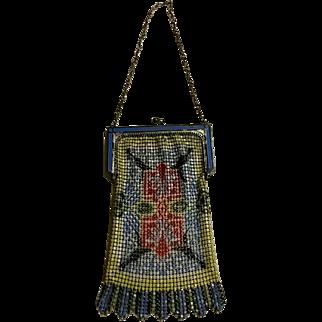 Art Deco Whiting & Davis Enamel Mesh Hand Bag