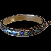 Vintage Chinese Silver Cloisonné Enamel Bangle Bracelet
