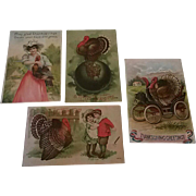 Lot of 4 Vintage Thanksgiving Postcards