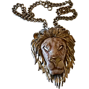 Huge Razza Lion Necklace Unsigned