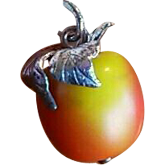 Vintage Realistic Silver Apple Charm