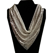 Whiting & Davis Silver Tone Mesh Bib Necklace