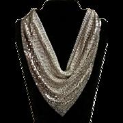 Whiting & Davis Silver Tone Mesh Bib Necklace