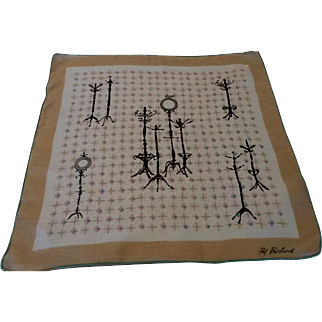 Vintage Pat Prichard Signed Novelty Handkerchief