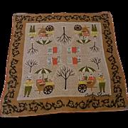 Vintage Carolyn Schnurer Signed Novelty Handkerchief