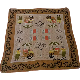 Vintage Carolyn Schnurer Signed Novelty Handkerchief