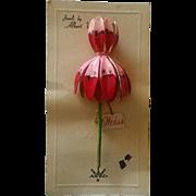 Jewels by Albert Weiss Enamel Flower Pin on Original Card