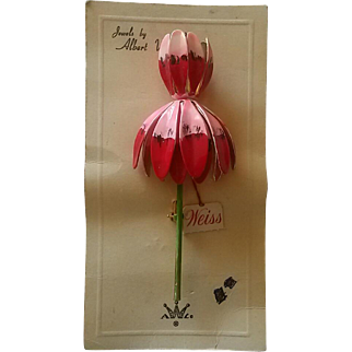 Jewels by Albert Weiss Enamel Flower Pin on Original Card
