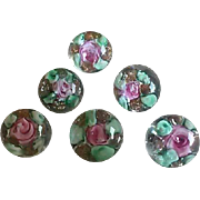 Set of 6 Antique Paperweight Buttons 3/8 inch