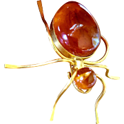 Vintage Russian Baltic Sea Amber Spider Brooch