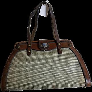 Vintage John Romain Leather & Tweed Handbag