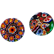 Two Italian Millefiore Art Glass Paperweight Buttons
