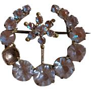 Victorian Saphiret Crescent Moon & Star Pin AS IS