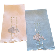 Pair of Vintage Madeira Fish Linen Guest Towels