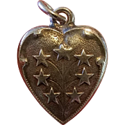 Vintage Sterling Silver Star Puffy Heart Charm