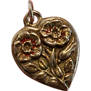 Vintage Sterling Silver Flower of the Month Primrose Puffy Heart Charm