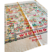 Vintage State of Wyoming Souvenir Tablecloth