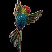 Filigree 800 Silver & Enamel Figural Hummingbird Pin