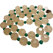 Art Deco Crystal and Jade Green Glass Bead Necklace