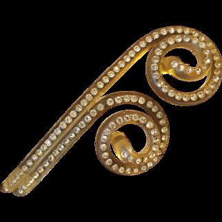 Vintage Lucite & Rhinestone Hair Clip