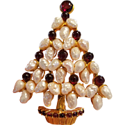Swoboda Fresh Water Pearl and Garnet Christmas Tree Pin