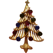 Trifari Christmas Tree Brooch w/ Rhinestone Ornaments