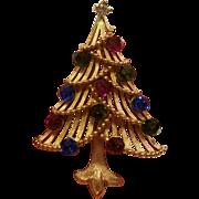 Trifari Christmas Tree Brooch w/ Rhinestone Ornaments