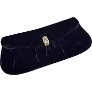 Vintage Garay Velvet Clutch Evening Bag Rhinestone Clasp