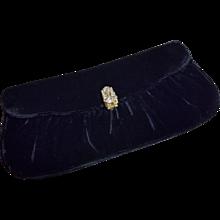 Vintage Garay Velvet Clutch Evening Bag Rhinestone Clasp
