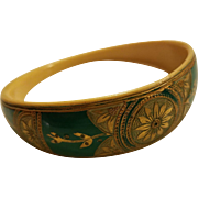 Art Deco Painted & Carved French Ivory Celluloid Bangle Bracelet