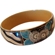 Art Deco Carved & Painted Celluloid Bangle Bracelet