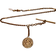 Gold Filled Watch Chain with Bi-Colored Double Sided Initial Fob