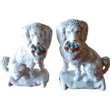 Pair of Small Staffordshire Style Poodle Dogs 3 inches