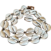 Vintage David Andersen Norway Sterling & White Enamel Double Leaf Necklace