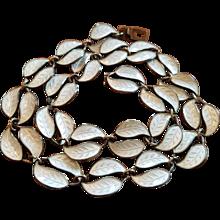Vintage David Andersen Norway Sterling & White Enamel Double Leaf Necklace