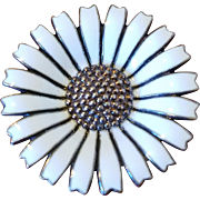 Anton Michelsen Denmark Marguerite Daisy Sterling Silver White Enamel Brooch