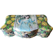Victorian Celluloid Vanity Box with Pretty Lady