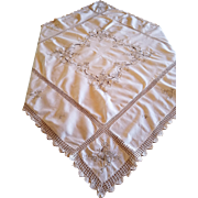 Vintage Crochet and Embroidery Tea Tablecloth Square 50x50