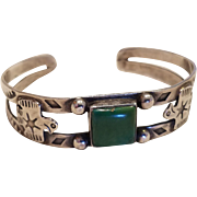 Fred Harvey Era Native American Green Turquoise Thunderbird Cuff Bracelet
