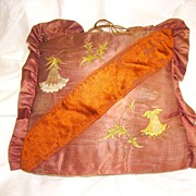 Rare Victorian French Silk with Silk Embroidery Tea Cozy
