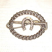 Vintage Equestrian Sterling Silver Brooch w/ Horse Shoe & Whip