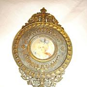 Antique Bronze French Hand Mirror w/ Miniature Signed Portrait