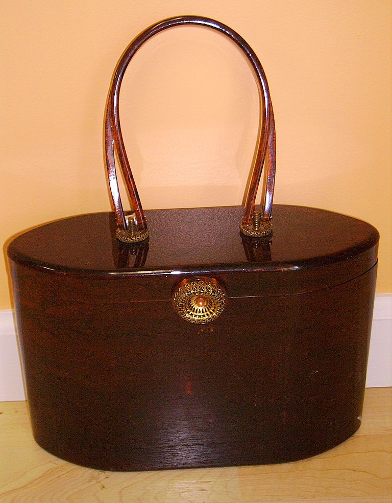 Vintage Signed Wilardy Lucite Purse Handbag Marble Root