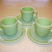 Jadeite Fire-King Restaurant Ware Short Coffee Cup/Mug & Saucer 3 Sets