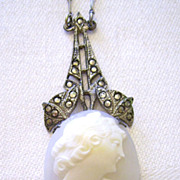 Art Deco Czech Sterling Shell Cameo Necklace w/ Marcasites