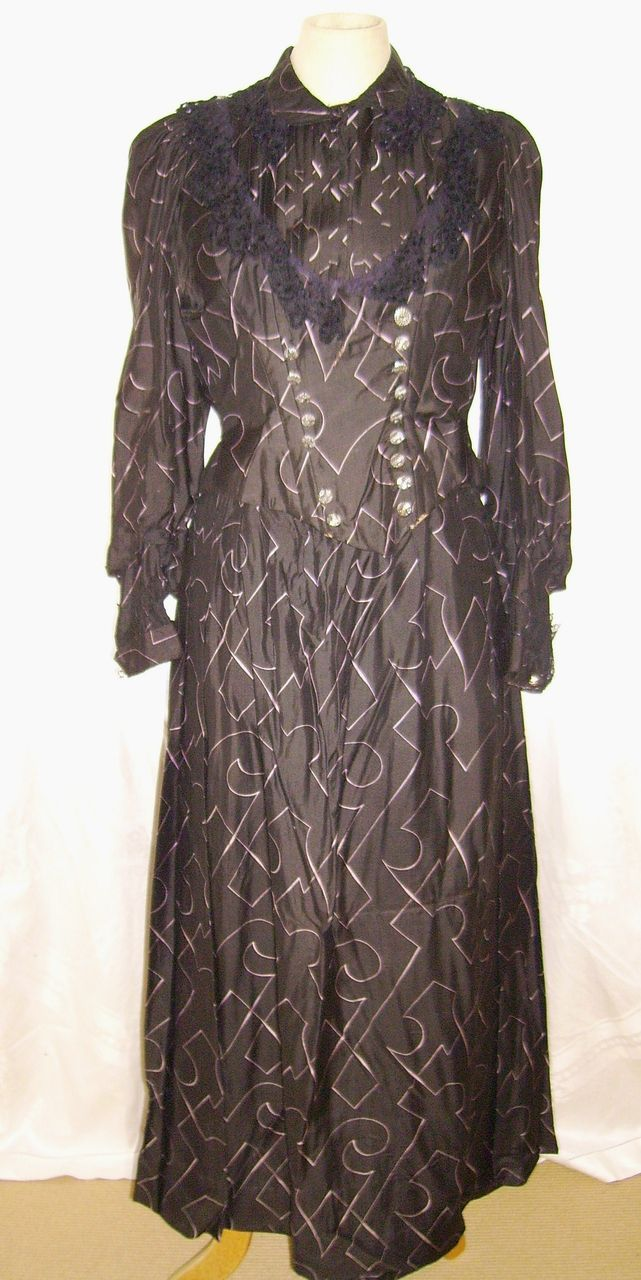 Victorian Ladies 2 Piece Silk Dress with Cut Steel Buttons