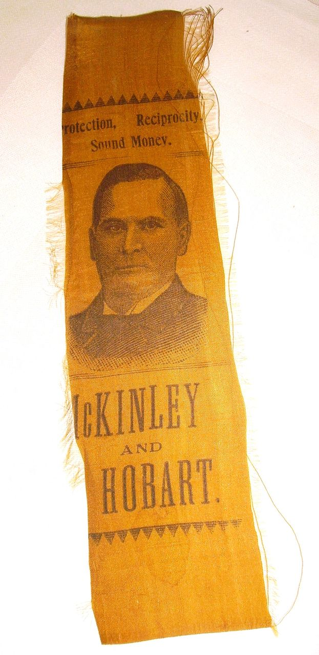 1896 McKinley & Hobart Political Presidential Campaign Ribbon