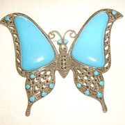 HUGE Sterling Silver, Faux Persian Turquoise & Marcasite Butterfly Pin