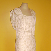 Beautiful Long White Lace Dress From Late 1910s