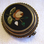 Antique Pietra Dura Hard Stone Mosaic Pin in 800 Silver Mounting